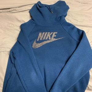 Navy blue nike cowl neck sweatshirt